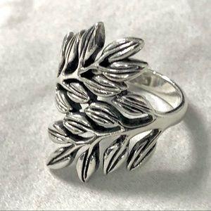 Leaf Sterling Ring Wrap Design Silver 925 Size 6